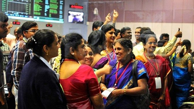 Breaking stereotypes and cracking the glass ceiling, while wearing a sari. Indian Space Research Organisation (ISRO) women scientists after India's Mars orbiter successfully entered the red planet's orbit.  (Photo: Reuters)