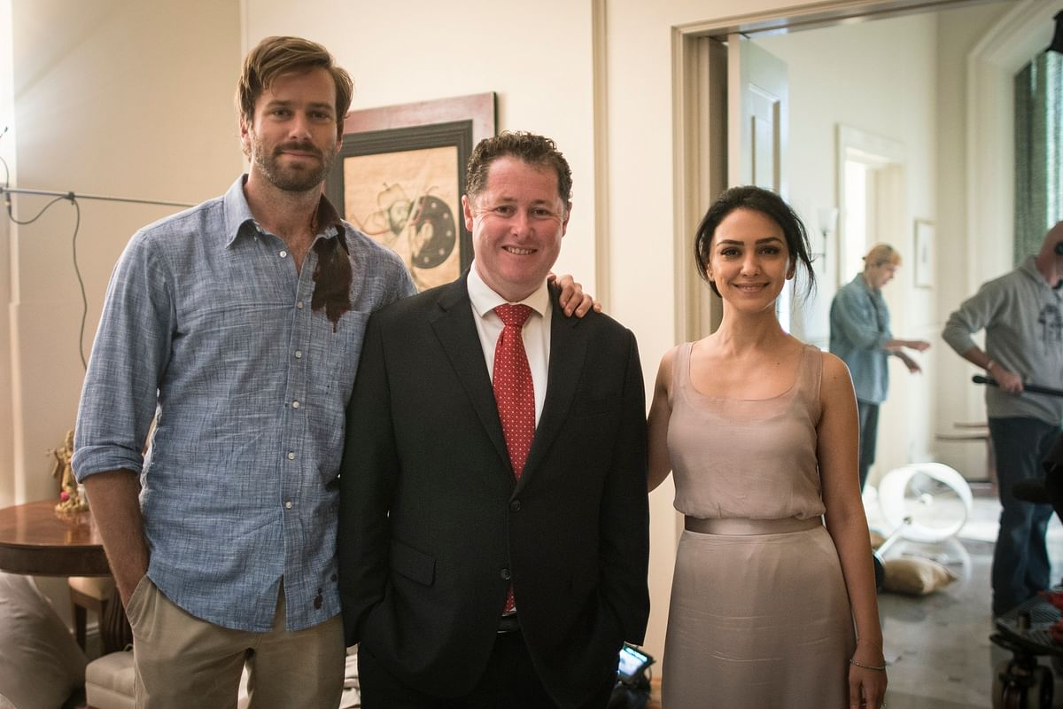 Actors Armie Hammer (left) and Nazanin Boniadi (right) with Minister Jack Snelling. (Photo:  Sam Oster)