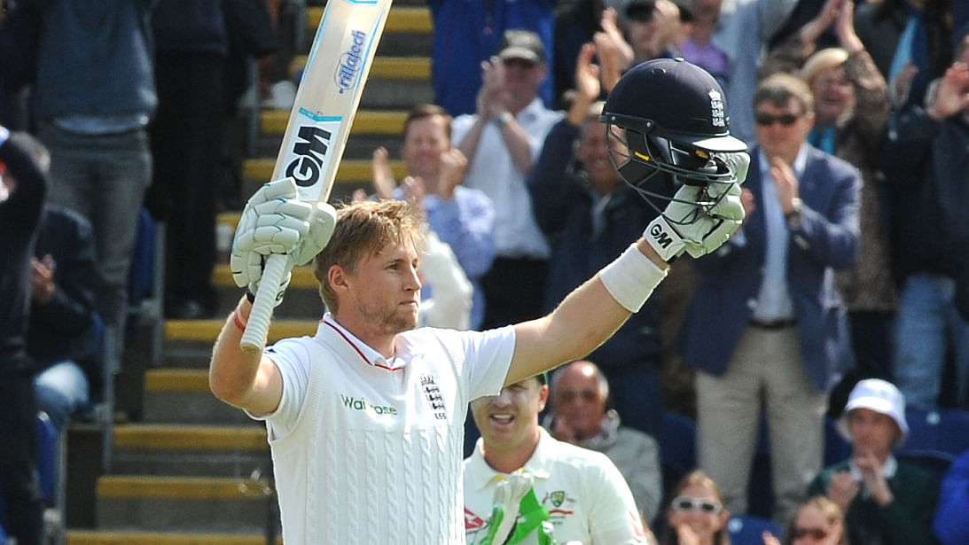 Joe Root celebrates his century on the first day of the first Ashes Test in 2015. (Photo: AP)