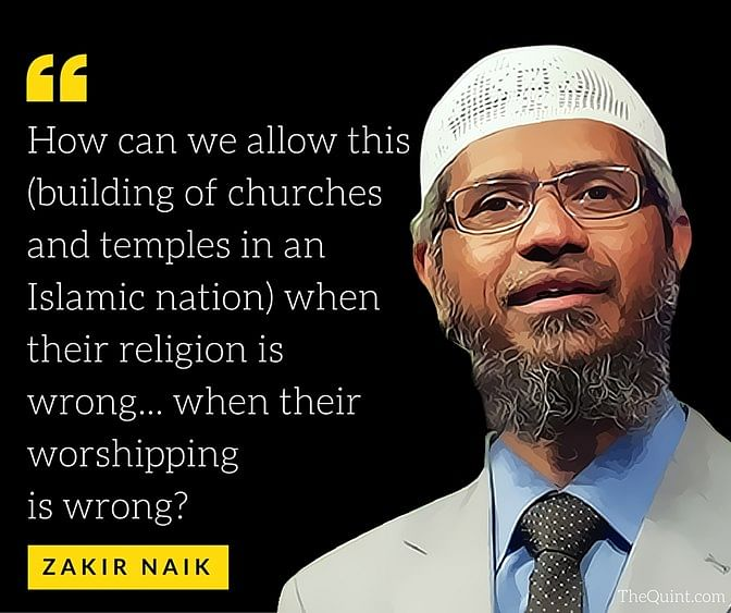 A quote from one of Zakir Naik's speeches. (Photo: <b>The Quint</b>)