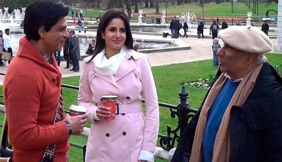 Yash Chopra with Shah Rukh Khan and Katrina Kaif on the sets of <i>Jab Tak Hai Jaan. </i>(Photo courtesy: Twitter)
