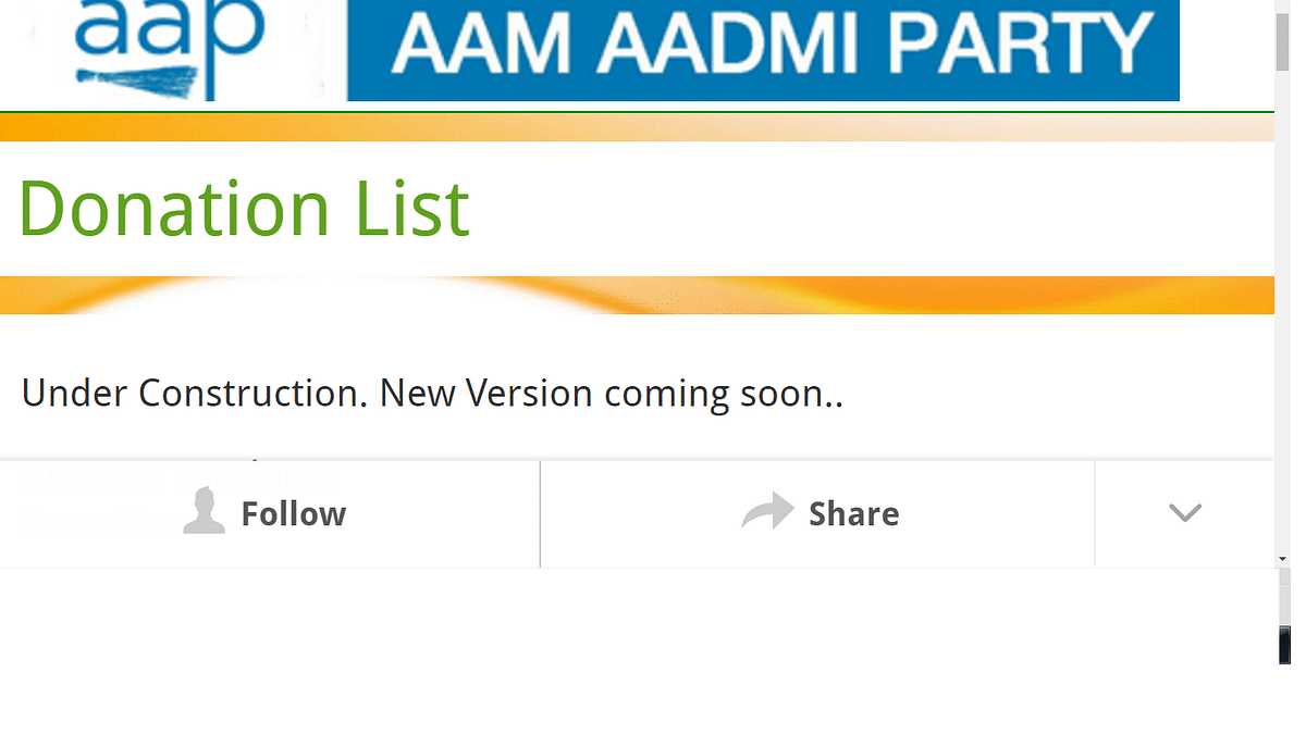 "Screenshot of the donors list  on the AAP's website. (Photo Courtesy: <a href=""http://aamaadmiparty.org/donation-list"">aamaadmiparty.org</a>)"