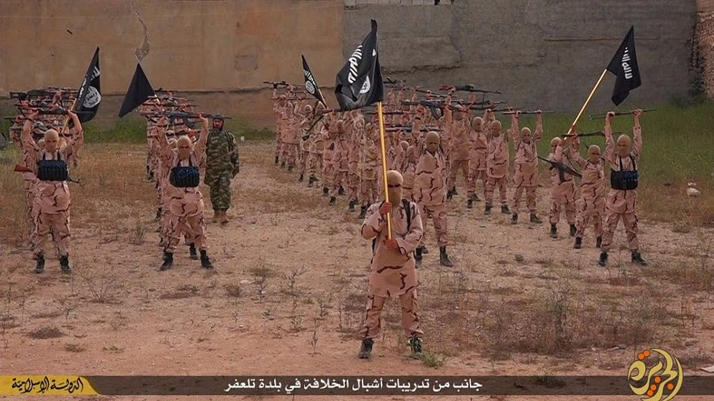 """In this file photo released on 25 April 2015, by a militant website,   young boys known as the """"lion cubs"""" hold rifles and Islamic State group flags as they exercise at a training camp in Tal Afar, near Mosul, northern Iraq. (Photo: AP)"""