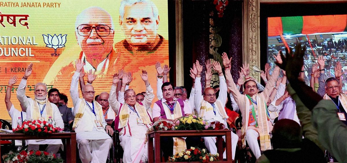 Prime Minister Narendra Modi along with senior BJP leaders during BJP's National Council Meeting at Kozhikode. (Photo: PTI)