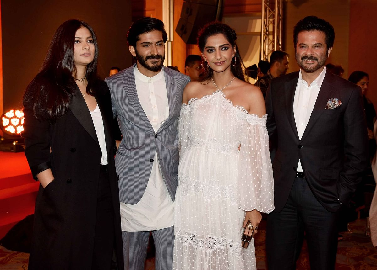 Proud daddy Anil Kapoor with his children Rhea, Harshvardhan and Sonam Kapoor. (Photo: Yogen Shah)