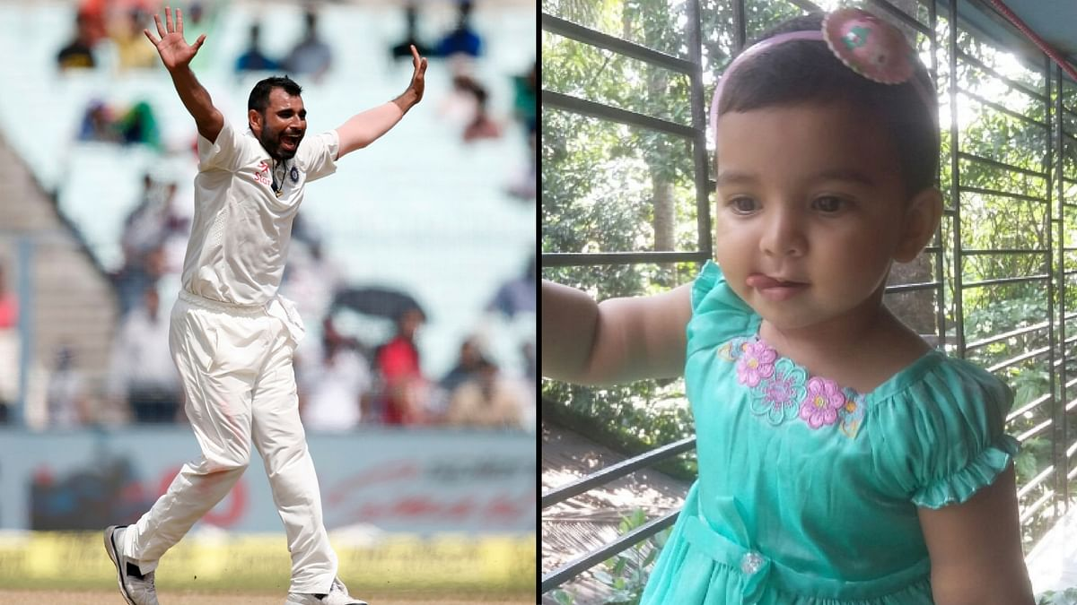 Mohammed Shami (L) and Aaira (R). (Photo: Altered by <b>The Quint)</b>