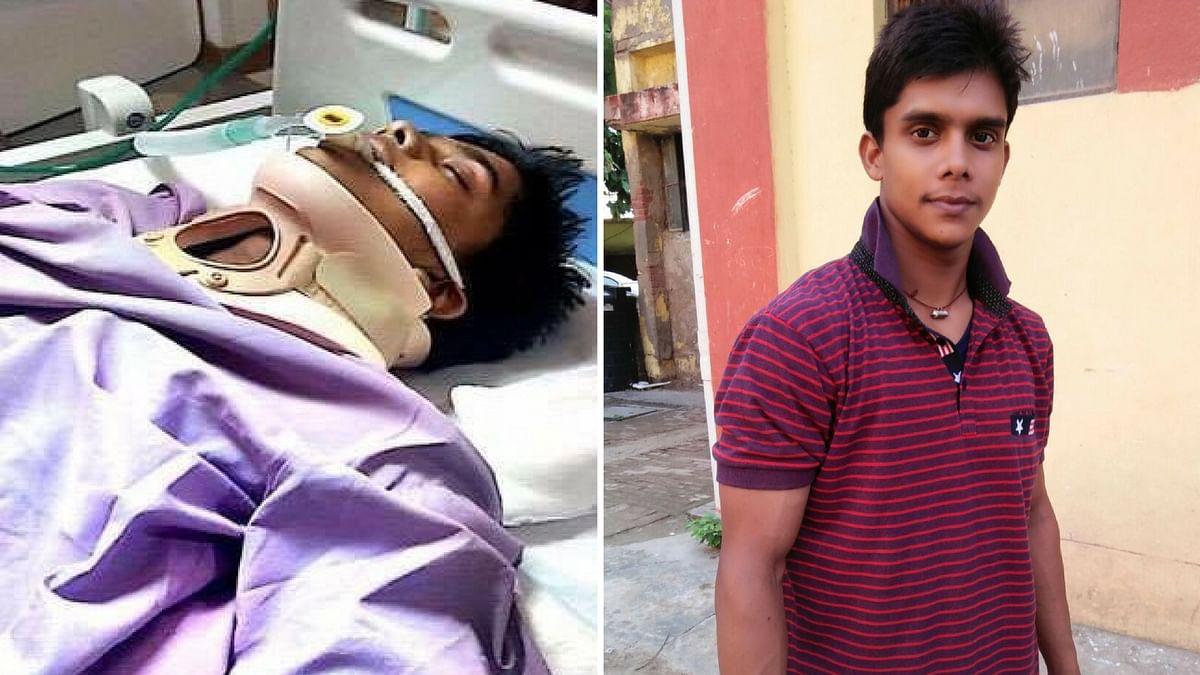 "Brijesh is an aspiring gymnast and is battling for his life in hospital. (Photo: <a href=""http://www.jagran.com/delhi/new-delhi-city-ncr-gymnast-brijesh-yadav-broken-neck-during-practice-in-agra-14852986.html"">Jagran</a>/Nauhar Shamshere Rana/Altered by <b>The Quint</b>)"