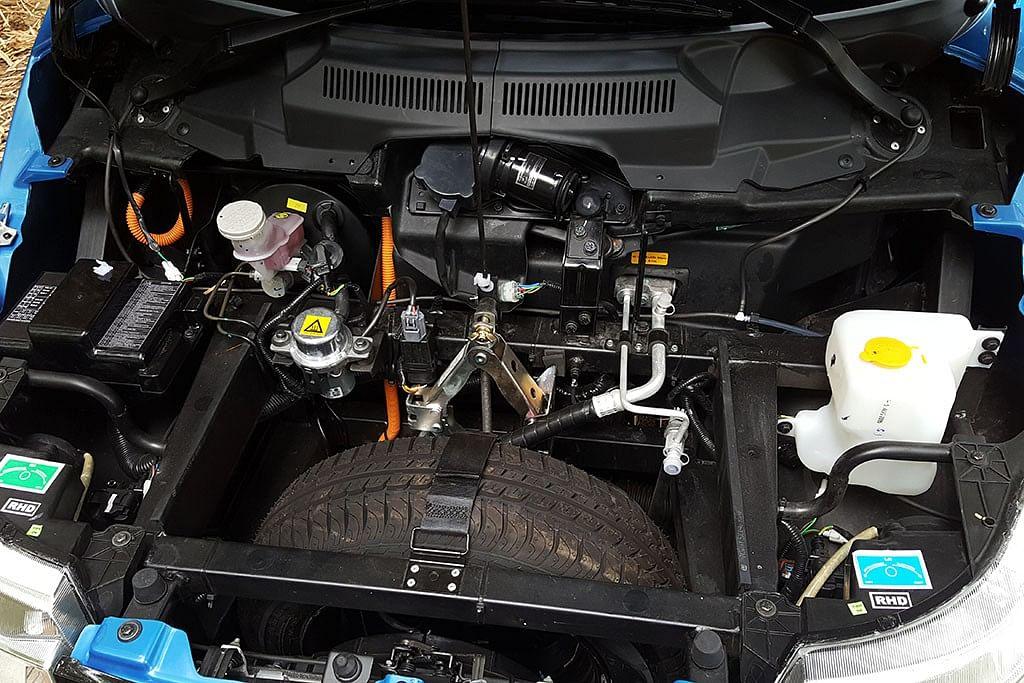 The electric motor on the Mahindra e2o Plus. (Photo Courtesy: MotorScribes)