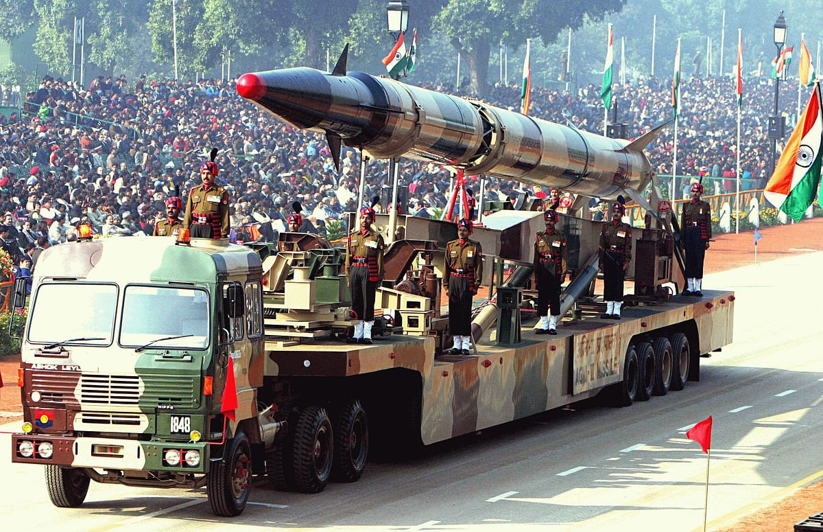 "Agni-II intermediate range ballistic missile on a road-mobile launcher (Photo Courtesy: Wikimedia <a href=""https://en.wikipedia.org/wiki/Agni_(missile)#/media/File:Agni-II_missile_(Republic_Day_Parade_2004).jpeg"">Creative Commons</a>)"