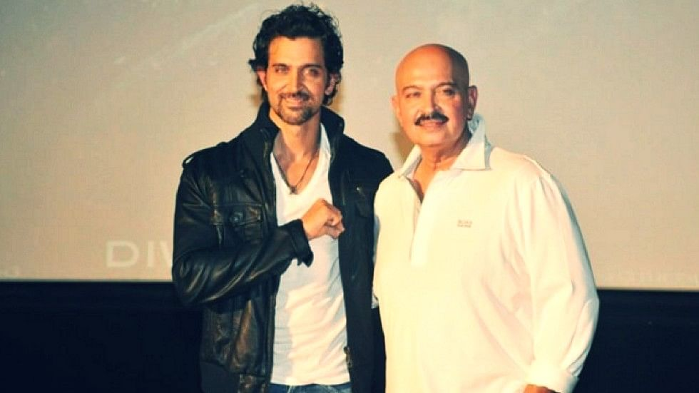 Hrithik Roshan poses with father Rakesh Roshan at a promotional event. (Photo: Yogen Shah)