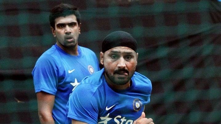 File photo of Ravichandran Ashwin and Harbhajan Singh. (Photo: IANS)