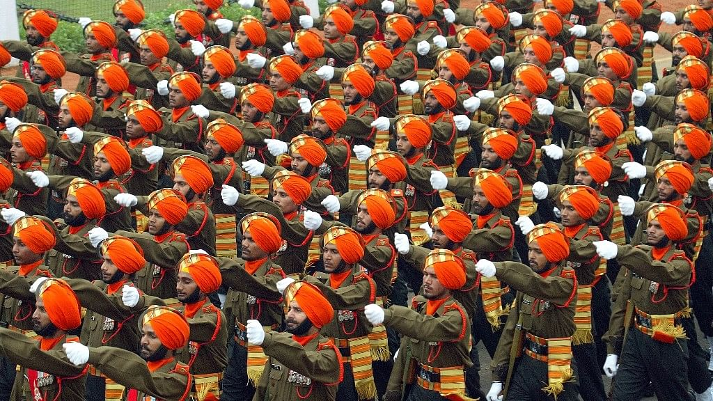 Indian soldiers from the Sikh Li regiment take part in a full dress rehearsal for Republic Day celebrations in New Delhi. (File photo: Reuters)