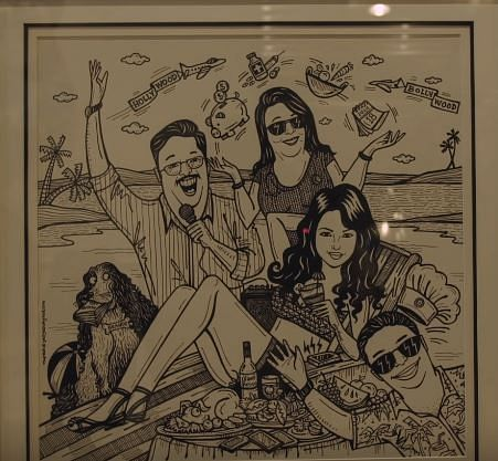 """A  caricature created by <i>Yesyeswhynot </i>of PeeCee and her family that is put up  in her New York home. (Photo Courtesy: <a href=""""https://www.youtube.com/watch?v=q9EKYKQWo5A"""">Youtube/FilmCompanion</a>)"""
