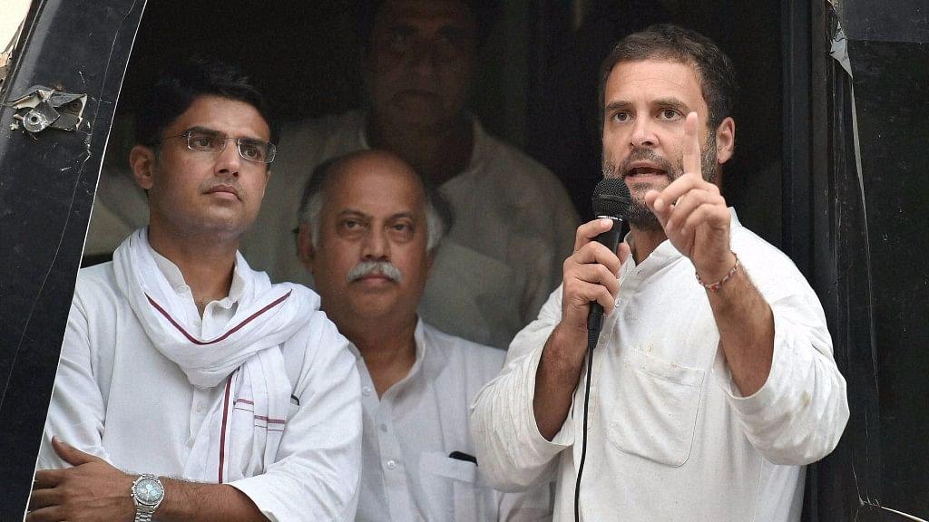 Congress Vice-President Rahul Gandhi addresses farmers at Rajghat in New Delhi on Thursday (Photo: PTI)