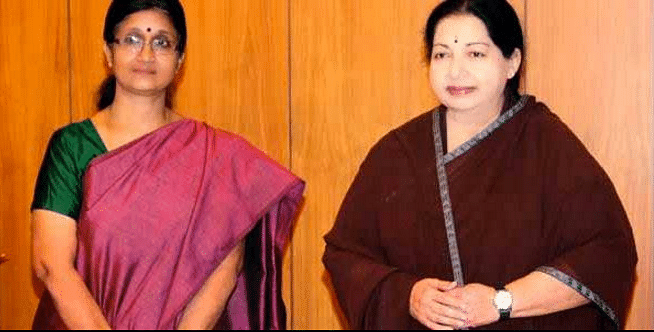 "CM Jayalalithaa with close aide Sheela Balakrishnan (Photo Courtesy: Twitter/<a href=""https://twitter.com/gopalanchennai"">@<b>gopalanchennai</b></a>)"