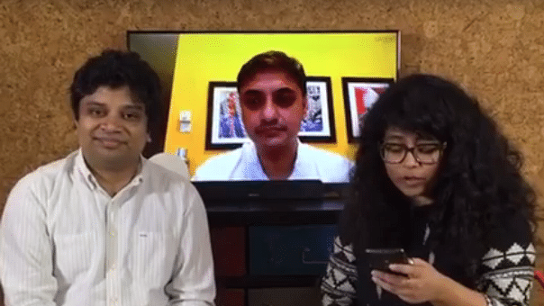 In conversation with Sanjeev Sanyal (centre) and Dhiraj Nayyar (left). (Photo: The Quint)