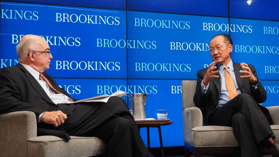 "Jim Yong Kim (right) talking about ending poverty at the Brookings Institute. (Photo Courtesy: Twitter <a href=""https://twitter.com/JimYongKim"">@JimYongKim</a>)"