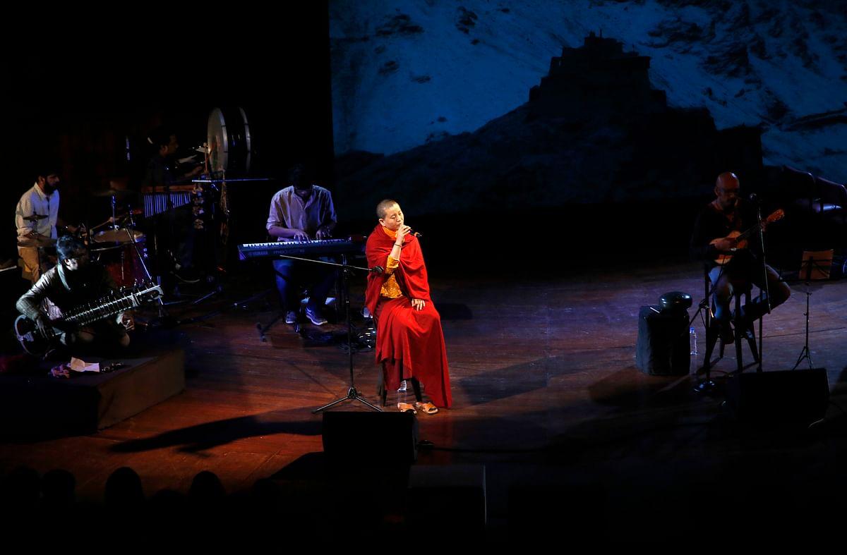 Ani Choying Drolma performs during a concert in Mumbai, India. (Photo: AP)