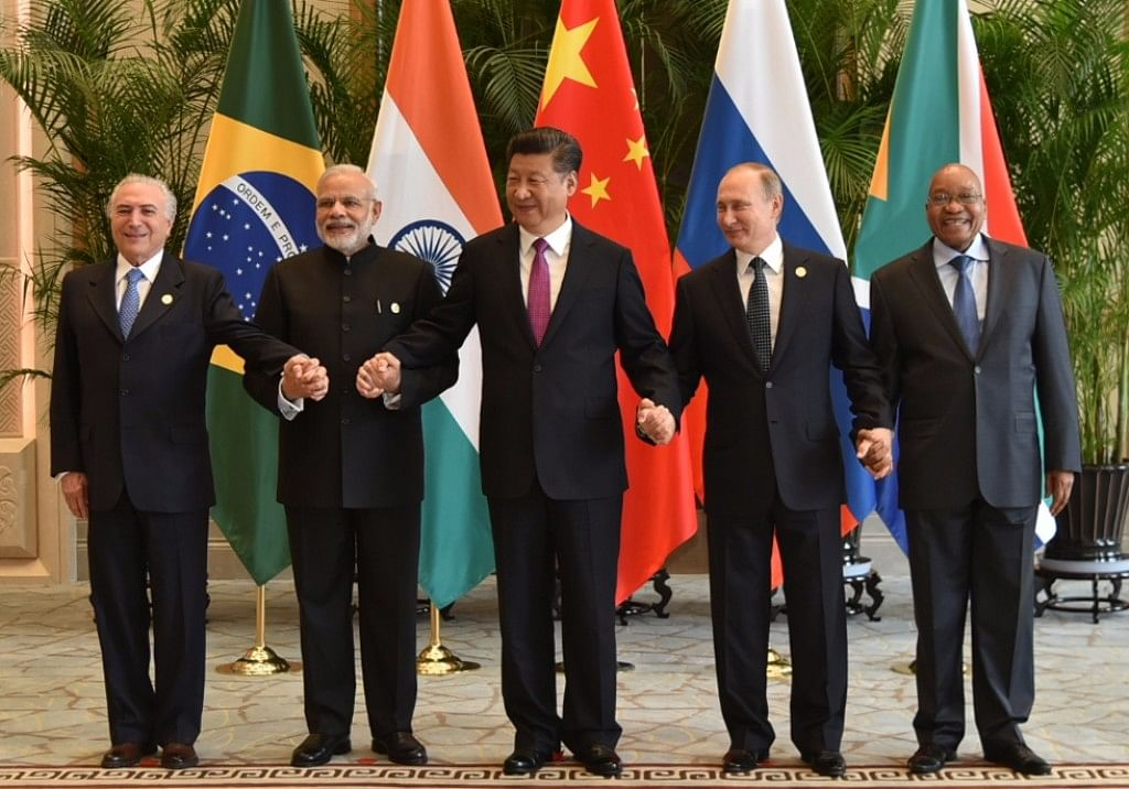 Prime Minister Narendra Modi with the BRICS leaders, during G20 Summit, in Hangzhou, China on 4 September 2016. (Photo: IANS)