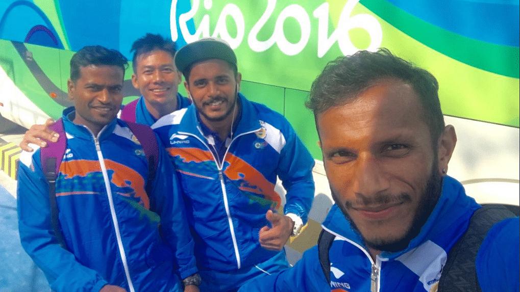 "SV Sunil (R) with team-mates during the 2016 Rio Olympics. (Photo Courtesy: Twitter/<a href=""https://twitter.com/SVSunil24/media"">@SV Sunil</a>)"