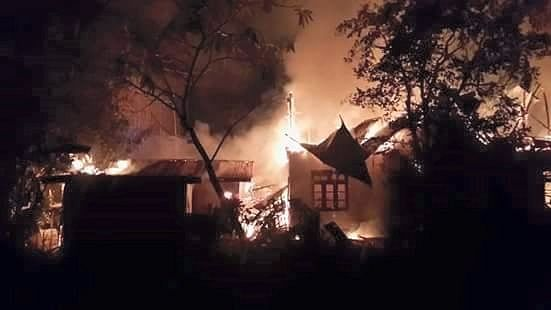 """Buildings ablaze in Manipur University. (Photo Courtesy: <a href=""""https://www.facebook.com/TaKabokLei/photos/a.855077054568852.1073741828.500646996678528/1120232374719984/?type=3&amp;theater"""">Facebook</a>)"""
