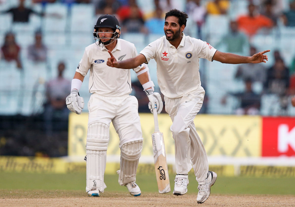 Bhuvneshwar Kumar was the star for India on day 2 of the second Test match against New Zealand at Kolkata as he notched up 5 wickets. (Photo: AP)