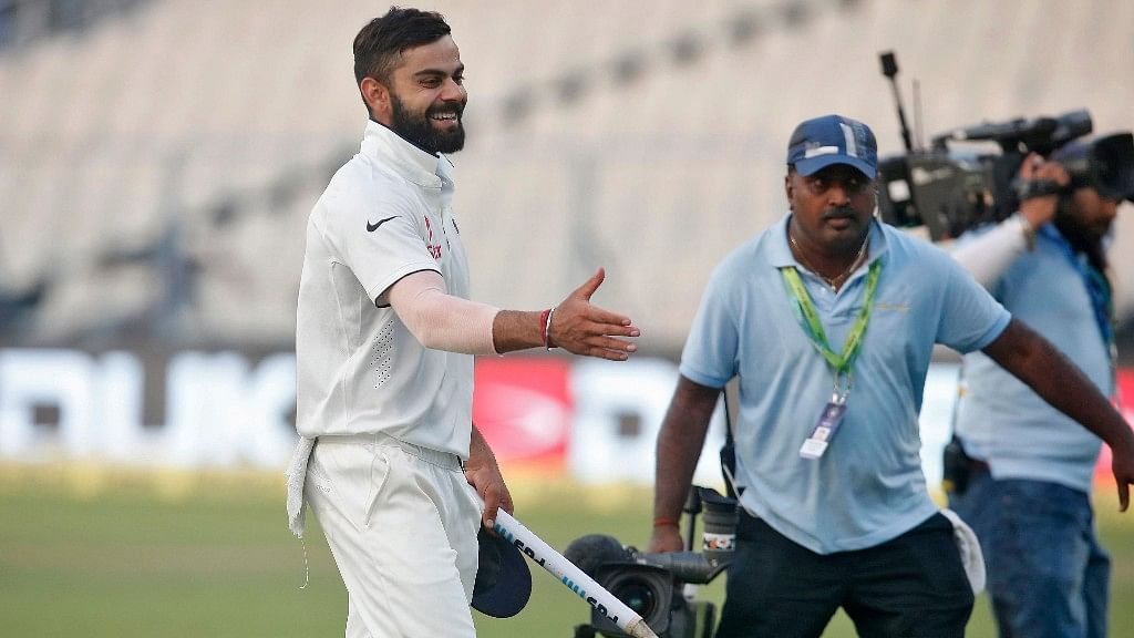Virat Kohli was happy to see his look-alike in the crowd during the third Test match against New Zealand at Indore. (Photo: Reuters)