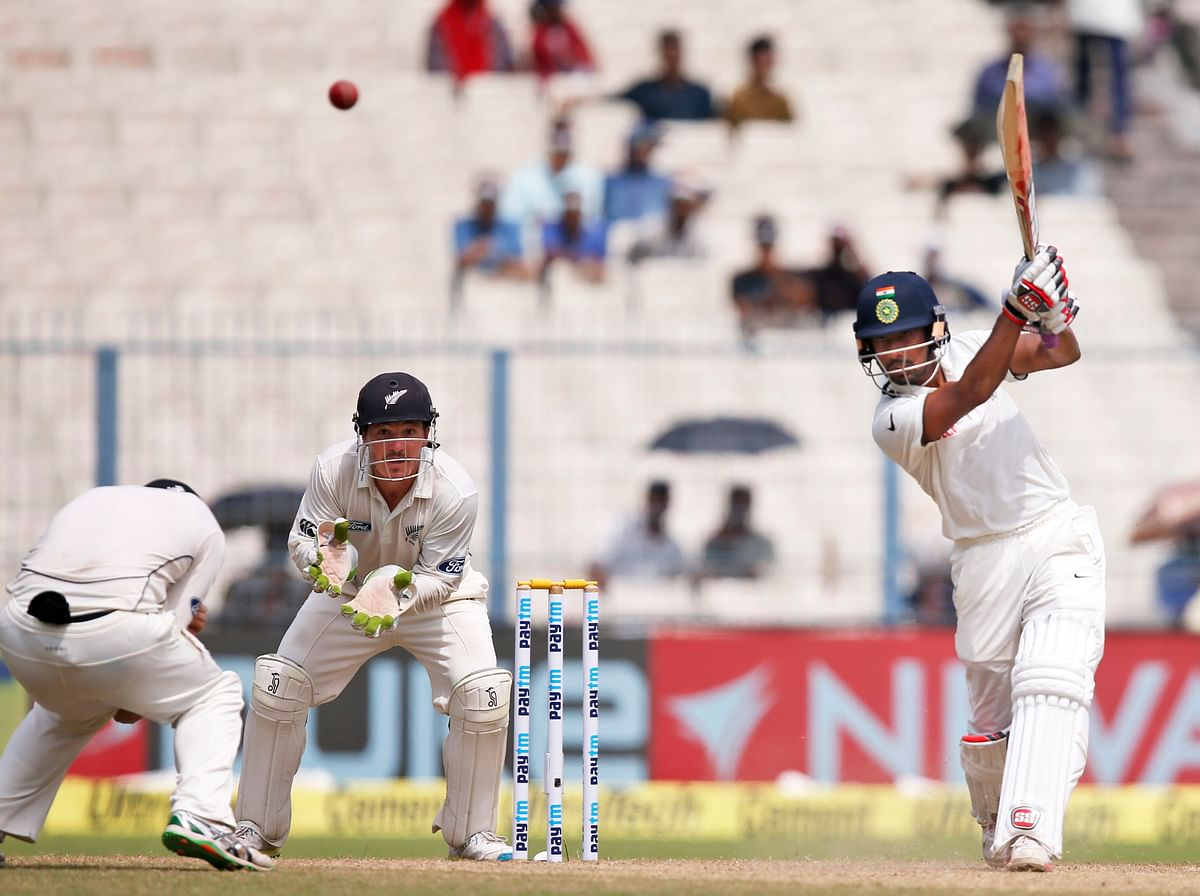 Wriddhiman Saha, batting lower down the order, played crucial knocks in each of the innings in the second test match against New Zealand at Kolkata. (Photo: AP)