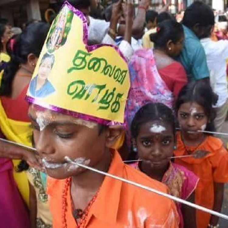 Children with pierced mouths in a prayer rally for Amma's health. (Photo Courtesy: The News Minute)