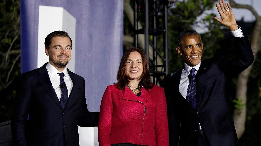 President Barack Obama arrived with actor Leonardo DiCaprio and Dr Katharine Hayhoe, to talk about climate change as part of the White House South by South Lawn event  in Washington on 3 Oct, 2016. (Photo: AP)