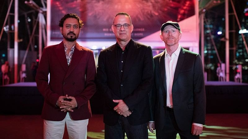 "Irrfan Khan and Tom Hanks with director Ron Howard at a promotional event for <i>Inferno</i>. (Photo courtesy: Twitter/<a href=""https://twitter.com/lilianpedroso16"">@<b>lilianpedroso16</b></a>)"