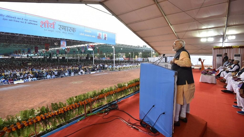 Prime Minister Narendra Modi addresses during the Ex Servicemen Public meeting in Bhopal on 14 October 2016. (Photo: IANS)