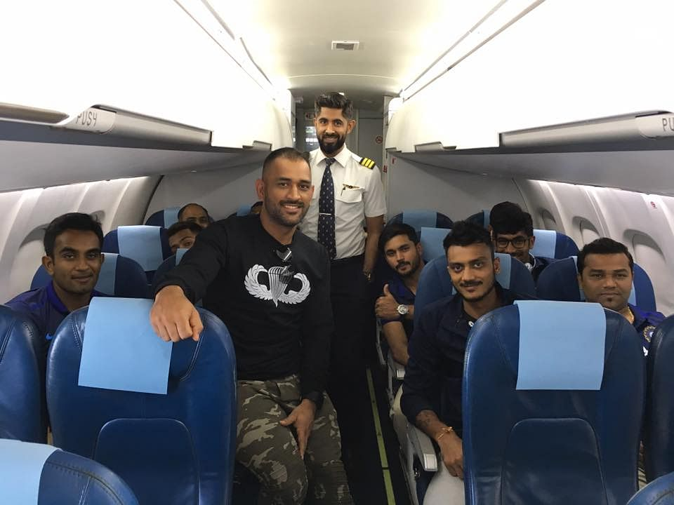 MS Dhoni and members of the Indian ODI team fly to Dharamsala for the opening game on Sunday. (Photo: Facebook.com/BCCI)