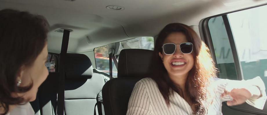 "Priyanka drives to the studio to shoot an episode of  <i>Quantico.</i> (Photo Courtesy: <a href=""https://www.youtube.com/watch?v=q9EKYKQWo5A"">Youtube/FilmCompanion</a>)"