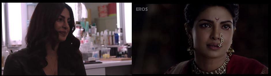 "Anupama shows a clipping from <i>Bajirao Mastani </i>to Priyanka. (Photo Courtesy: <a href=""https://www.youtube.com/watch?v=q9EKYKQWo5A"">Youtube/FilmCompanion</a>)"