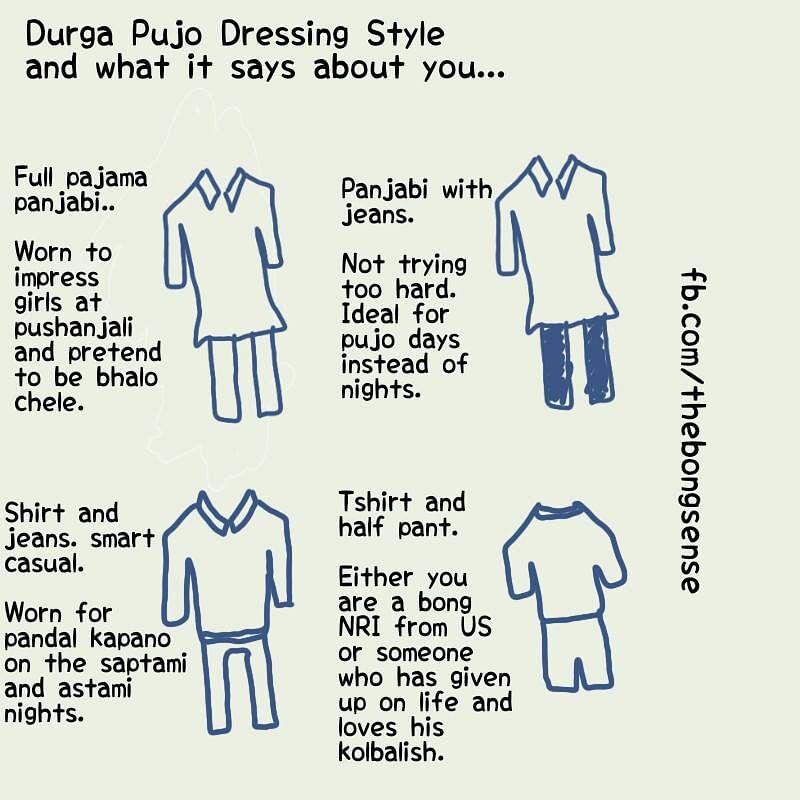 """Durga Puja style guide. (Photo Courtesy: Facebook/<a href=""""https://www.facebook.com/thebongsense/#"""">@thebongsense</a>)"""