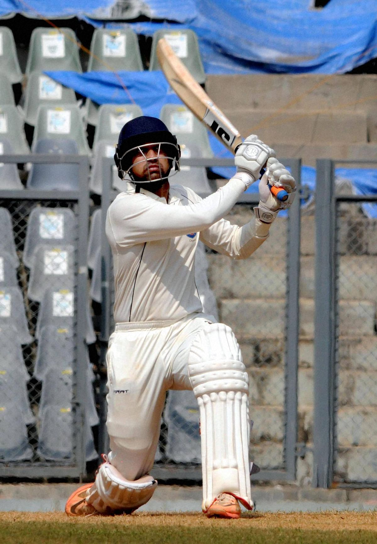 Swapnil Gugale of Maharashtra plays a shot against Delhi during their Ranji Trophy match at Wankhede Stadium in Mumbai on Friday. (Photo: PTI)