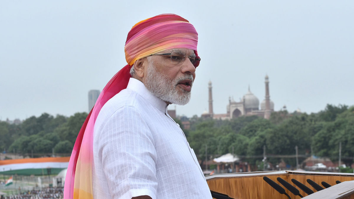 Prime Minister Narendra Modi delivering his speech on the occasion of the 70th Independence Day at Red Fort, in Delhi, 15 August 2016. (Photo: IANS/PIB)