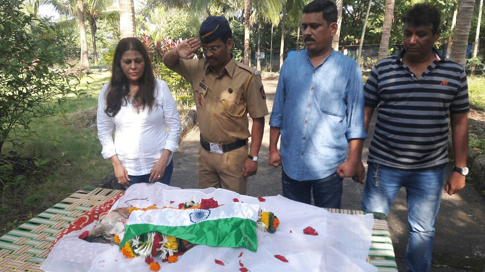 """26/11 hero Caesar gets a send-off from the Mumbai police force. (Photo: Twitter/<a href=""""https://twitter.com/CPMumbaiPolice/status/786549368954429440"""">CP Mumbai Police</a>)"""