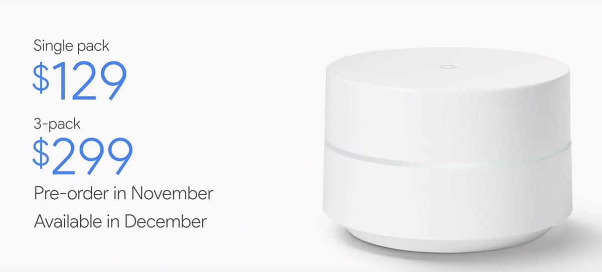 Prices of the Google WiFi router. (Photo: YouTube/Google)