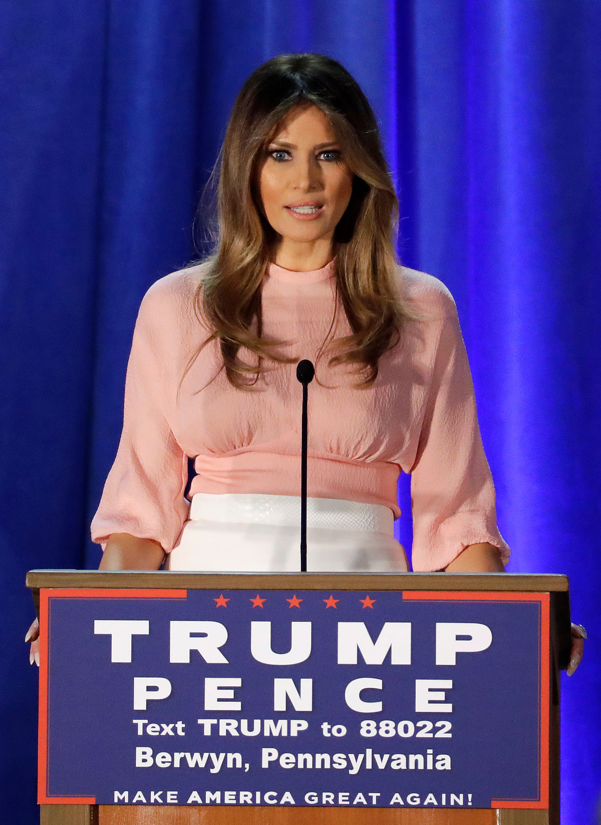Melania Trump speaks on Thursday, 3 November 2016. (Photo: AP)