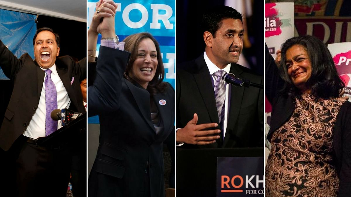 "Raja Krishnamoorthi, Kamala Harris and Pramila Jayapal. (Photo Courtesy: AP/<a href=""https://twitter.com/KamalaHarris"">@KamalaHarris</a>/<a href=""https://twitter.com/PramilaJayapal"">@PramilaJayapal</a>/Twitter)"