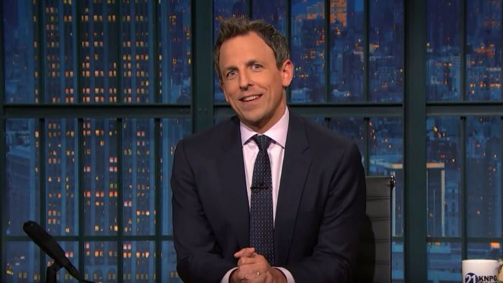 Seth Myers, in his show 'A Closer Look'. (Photo Courtesy: YouTube Screenshot)