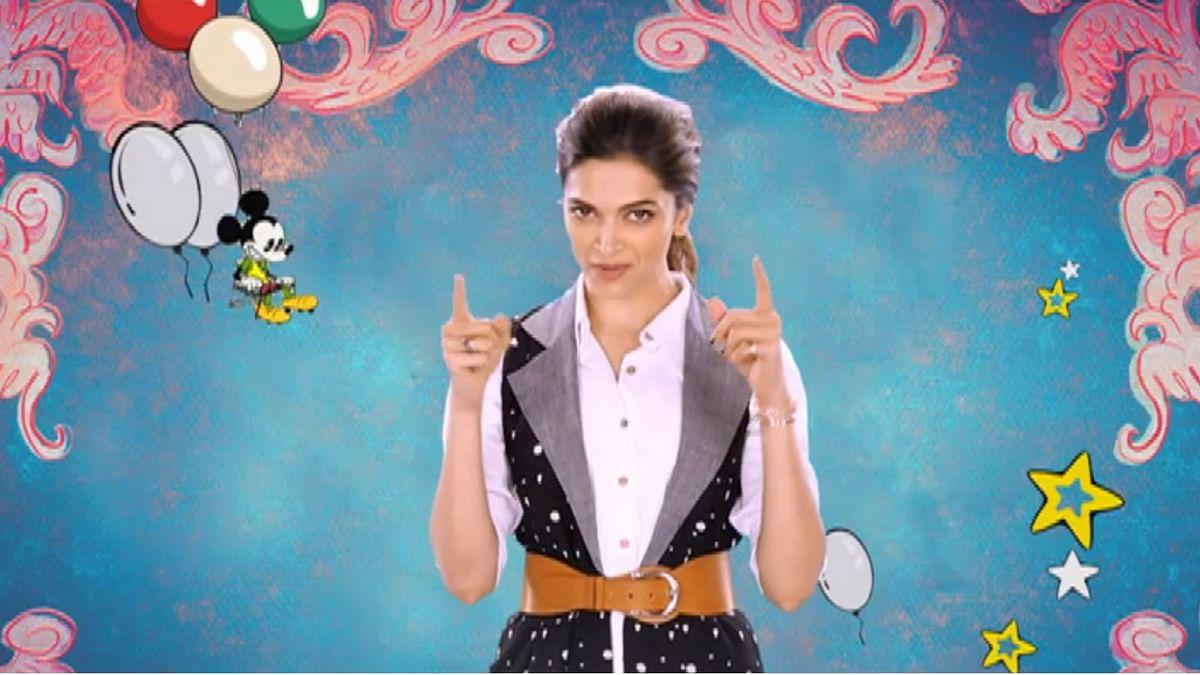"Deepika Padukone wishes Mickey Mouse a very happy birthday. (Photo courtesy: YouTube/<a href=""https://www.youtube.com/channel/UCcpyP5B4qeKplEHv6wYnJcw"">Disney India</a>)"