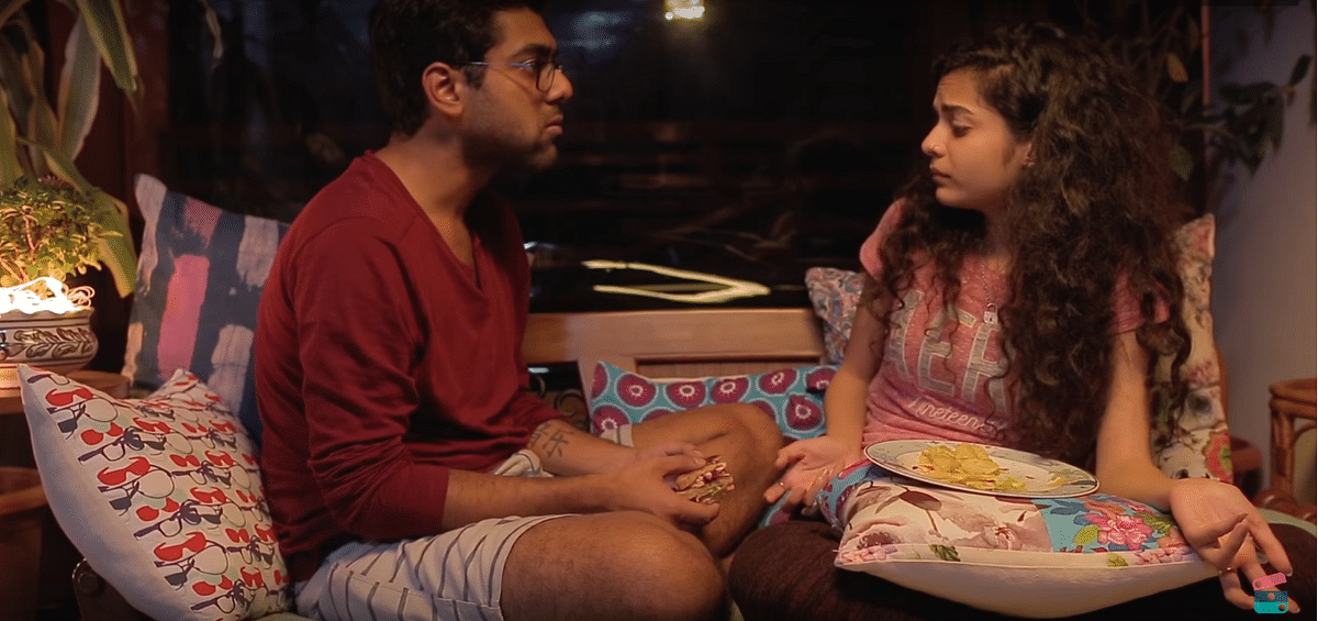 "Dhruv and Kavya emerge as a relatable, filmy couple who love watching <i>Inside Out</i> and have a poster of <i>Frances Ha</i> on their living room wall. (Photo: <a href=""https://www.youtube.com/watch?v=a-uyRka4srk&amp;t=693s"">YouTube screenshot</a>)"