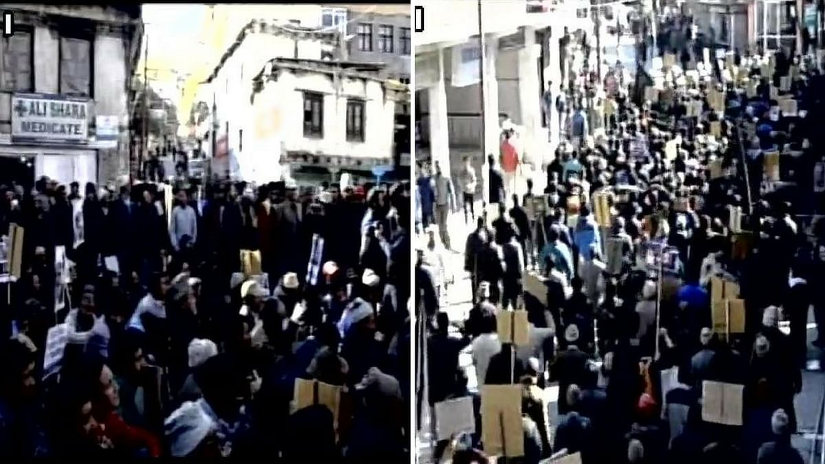 The protest in Kargil, Jammu and Kashmir. (Photo: ANI)