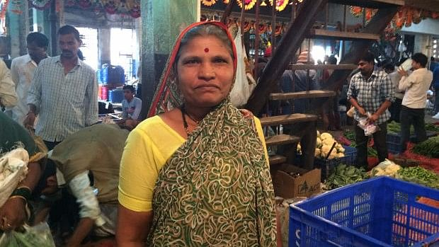 Lakshmi Kadam, 50, a vegetable vendor in Navi Mumbai, made Rs 2,000-Rs 3,000 per day before the note ban. Her earnings fell by 50% since. (Photo Courtesy: IndiaSpend/Swagata Yadavar)