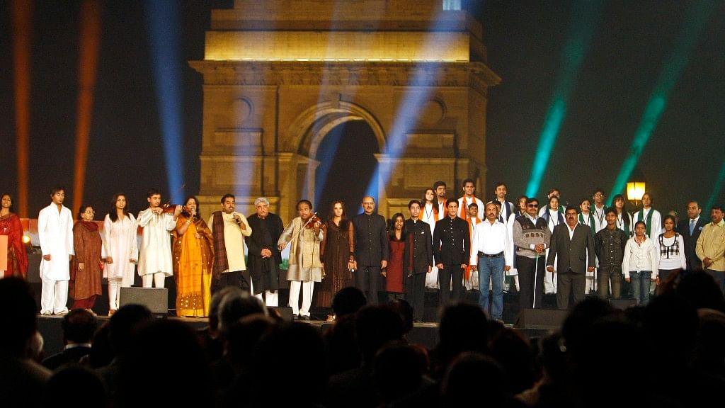 Bollywood and sports personalities stand for the national anthem at an event at India Gate. (Photo: Reuters)