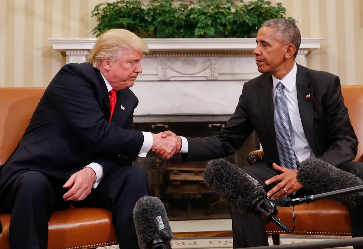 Donald Trump and Barack Obama at the White House.