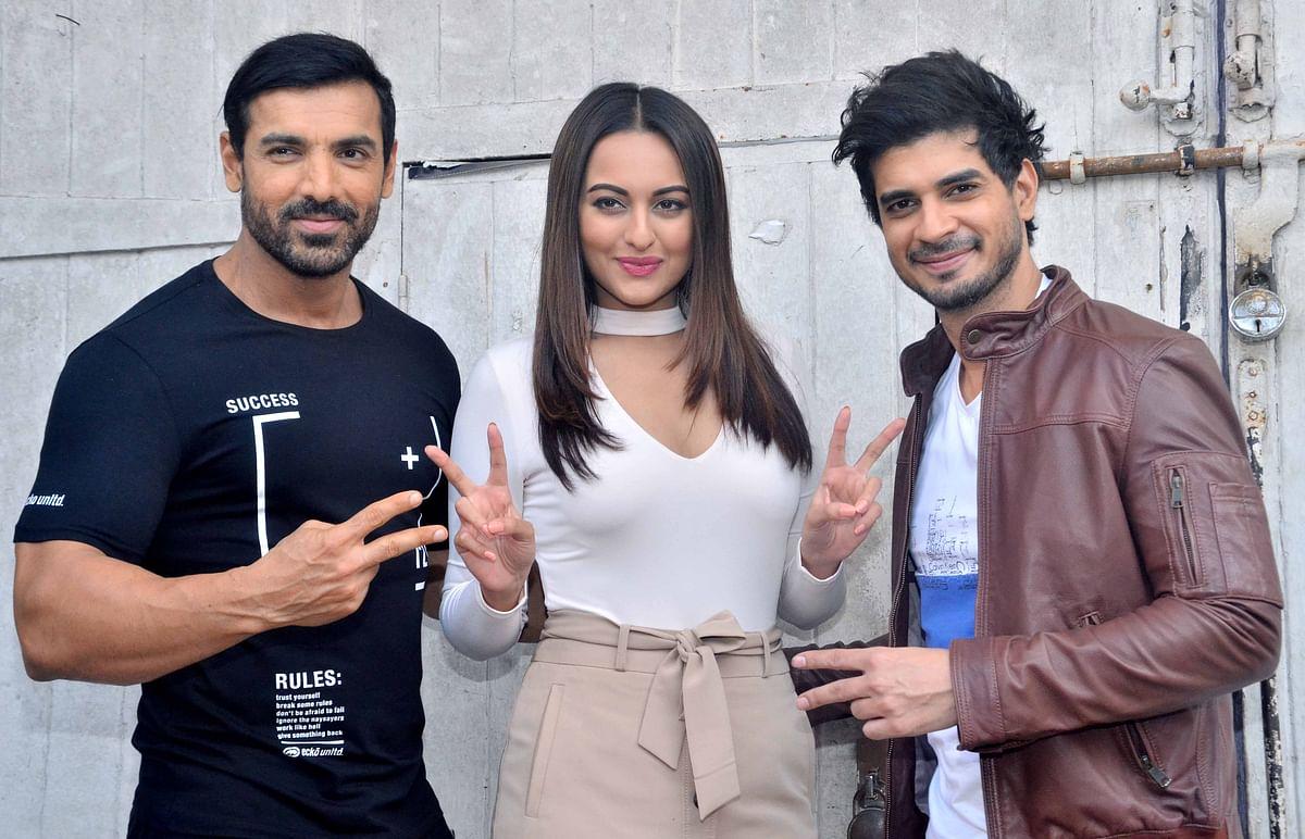 John Abraham, Sonakshi Sinha and Tahir Raj Bhasin start promoting<i> Force 2</i>. (Photo: Yogen Shah)